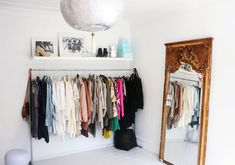 Walk-in dressing rooms are not just reserved for fashion stores. Convert your spare bedroom into a dazzling dressing room by sourcing eclectic finds. Closet Bedroom, Closet Space, Closet Mirror, Clothes Rack Bedroom, Bedroom Decor, Upstairs Bedroom, Wardrobe Storage, Wardrobe Rack, Open Wardrobe