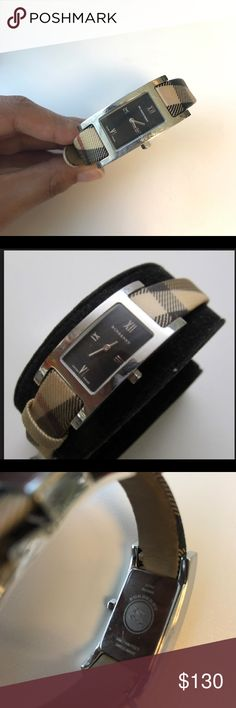Burberry BU1009 Women's Swiss Nova Check Watch Barely used, excellent condition. I bought from Burberry store in 2011 for $450. Heritage collection- nova check strap, black dial. Stainless steel. Adjustable strap. No stains on front facing side Burberry Accessories Watches