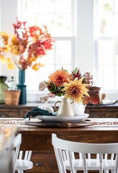Fall Decorating in My Dining Room #fall #decor #decorating #diningroom #styling Fall Candles, Soy Candles, Pitchers Of Flowers, Black Bowl, Vintage Sideboard, Trim Color, Vintage Chairs, Fall Decorating, Wood Cabinets