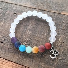 Matte Gemstone Chakra Bracelet with Crystal Quartz and Om charm – Lovepray jewelry