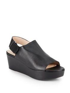 STUART WEITZMAN Offset Leather Wedge Slingback Sandals. #stuartweitzman #shoes #pumps