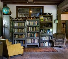 metal barrister bookcases--saw one just the other day at one of my favorite antiques shops!