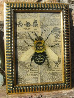"""Bee, Vintage Bee Print, Bee Collage, Home Decor, Original Art, Framed Bee Print, Altered Mixed Media Nature Print, 5 1/4"""" x 7 1/4"""". $22.00, via Etsy."""