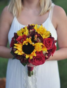 Fall Silk Wedding Bouquets shipping worldwide by Holly's Wedding Flowers. Find us on Etsy at Holly's Flower Shoppe.