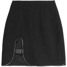 David Koma Leather Trimmed Mini Skirt