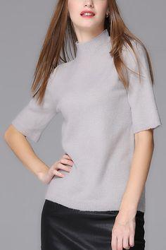 Grey Half Sleeves Knit Sweater