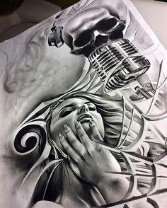 "Finished up this music themed piece!! A little ""duet"" action #tattoo #spooky #emilysears #duet #musical #composition #art #art_spotlight #artcollective #artofvisuals #arts_gallery #artnerd #arts_help #artsanity #artistdrop #proartists #spotlightonartists #sketch_daily #worldofartists #worldofpencils #blackandgrey #graphite #charcoal #pencil #work #create"