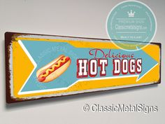 Vintage Style Hot Dogs Sign – UV Protected Weatherproof Signs Suitable for Outdoor or Indoor Use – Exclusively from Classic Metal Signs