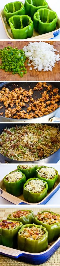 Cheesy Sausage & Brown Rice Stuffed Peppers - cheese, dinner, food recipes, recipes, rice, vegetable