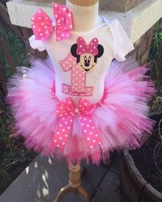 0f2c85c87 Minnie Mouse Birthday Tutu Outfit Dress Set Handmade 1st 2nd 3rd in Pinks  and White