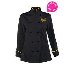 Women's Black Chef Coat - Gold piping