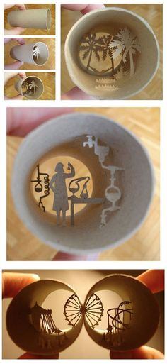 Artist Anastassia Elias creates interesting, diorama-like scenes in the less than two-inch diameter of a cardboard toilet paper tube. The intricate artwork doubles as a unique shadow box. Adding light enhances the scene. by Hercio Dias Papier Diy, Cardboard Art, Cardboard Tubes, Cardboard Playhouse, Shadow Art, Art Pictures, Art Pics, Paper Cutting, Art Lessons