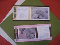 Layered Baby Announcement with bows.