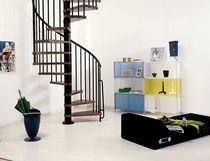 Escalier en colimaçon / marche en bois / structure en acier / sans contremarche