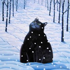 Snow Cat - A unique Christmas card. Snow Cat by Scottish artist Vicky Mount. This card blank inside �1 and individually cello-wrapped.