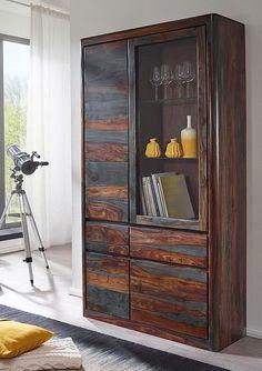 vitrine 109cm mumbai sheesham lackiert grau