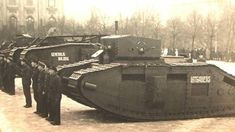 Latvian tanks and their crews. In the foreground Mk. B «Latgalietis» in the middle of the Mk. V «Generalis Balodis», hereinafter Mk. B name is not visible.