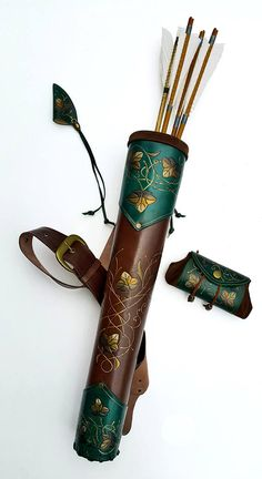 Leather Quiver Karoline In A Set With A Small Belt Pouch Or An Arm Guard, Engraved and Painted Tooled Leather Back Quiver Karoline And A Small Leather Quiver, Leather Tooling, Tooled Leather, Leather Belts, Larp, Arm Guard, Bow Arrows, Belt Pouch, Character Outfits