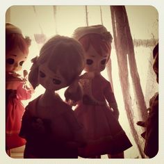 My vintage Bradley/Japanese big-eyed fashion pose dolls, just hanging out being twee.