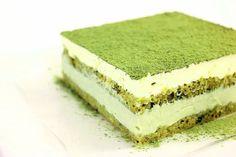 Matcha Green Tea Tiramisu (recipe) Recipe Desserts with cheese, egg yolks, white… Green Tea Tiramisu Recipe, Patisserie Design, Green Tea Dessert, Cake Recipes, Dessert Recipes, Matcha Cake, Green Tea Recipes, Matcha Green Tea Powder, Tea Cakes