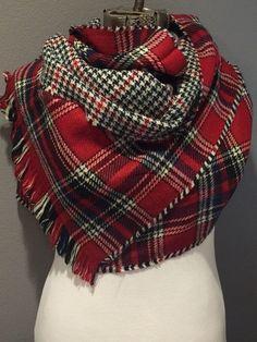 336330443a Red Black and Ivory Plaid Oversized Blanket Scarf. Nagyméretű Sál ...