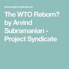 The WTO Reborn? by Arvind Subramanian            - Project Syndicate