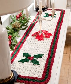 Holly Table Runner - Get your table looking festive with this Holly Table Runner Pattern. This is a free Christmas crochet pattern from the folks at Red Heart. All Free Crochet, Crochet Home, Crochet Crafts, Crochet Projects, Crochet Ideas, Knit Crochet, Crochet Granny, Crotchet, Crochet Table Runner Pattern