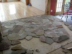 Flagstone Kitchen Tiles- How cool is this? Perfect for my nature loving husband ;P