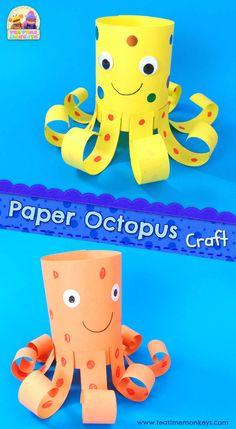 Sea Animal Crafts, Animal Crafts For Kids, Paper Crafts For Kids, Easy Crafts For Kids, Craft Activities For Kids, Preschool Activities, Elderly Activities, Dementia Activities, Physical Activities