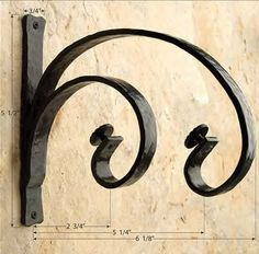 Double Forged Iron Curtain Rod Bracket for Drapery Rods~Each Curtain Rod Holders, Curtain Rod Brackets, Curtain Rails, Window Curtain Rods, Double Rod Curtains, Drapery Rods, Wrought Iron Decor, Wrought Iron Gates, Rustic Curtains