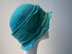 Ladies cloche hat.  Womens hat.  Aqua green hat.  Hand felted hat. Silk wool hat. Nuno felted ladies hat.. £65.00, via Etsy.