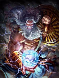 Zeus, God of the Sky, is a mage of the Greek pantheon in Smite. King of Gods, Zeus strives for. Roman Mythology, Greek Mythology, Greek Pantheon, Greek Gods, Zeus Greek, God Of War, Gods And Goddesses, Yandere, Fantasy