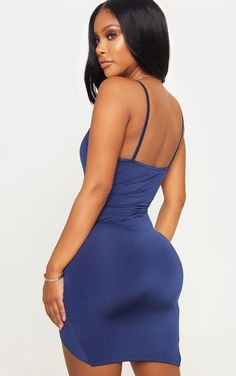 Shape navy ruched side strappy bodycon dress bible