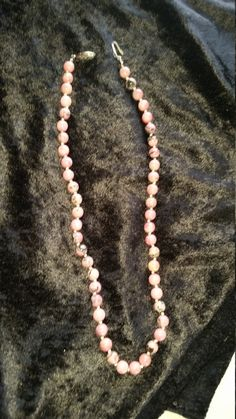 """Natural Stones Rhodinite round with pink and Black coloring 19"""" by AngelsAllAroundyou on Etsy"""