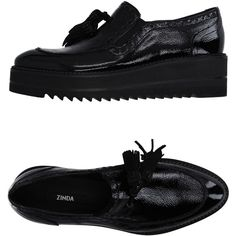 Zinda Moccasins ($200) ❤ liked on Polyvore featuring shoes, loafers, black, leather shoes, black leather moccasins, black leather shoes, black wedge shoes and leather wedge shoes