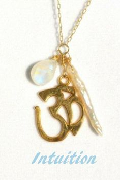 Om necklace with moonstone & freshwater pearl.