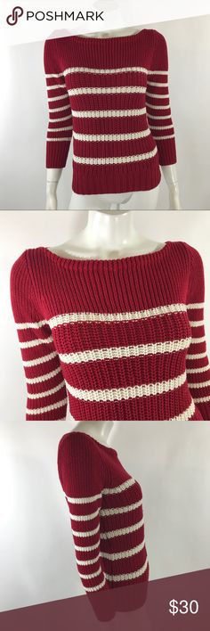J Crew Ripplestitch Sweater XS Red White Stripe J Crew Ripplestitch Sweater Womens XS Red White Stripe 3/4 Sleeve Boatneck. Measurements: in inches Underarm to underarm: 16.5 Length: 23.5  Good, gently used condition J. Crew Sweaters