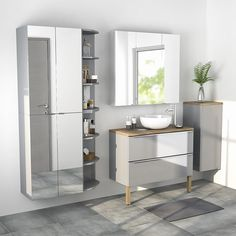 Armoire salle de bains gris miroir 60 x 90 x 36 cm Imandra - CASTORAMA