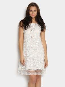 abof Women White Lace Shift Dress.  Rs