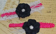 Bridal Garter Set Hot Pink and Black Rose by DESIGNERSHINDIGS, $18.00