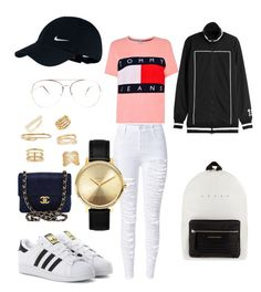 """""""Tommy"""" by madisonkiss on Polyvore featuring Chanel, WithChic, Tommy Hilfiger, adidas Originals, Alexander McQueen, Puma, NIKE, Bony Levy, Maison Margiela and Yves Saint Laurent"""