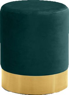 Lowest price on Meridian Joy Green Velvet Ottoman Stool with Gold Stainless Steel Base Shop today! Green Ottoman, Ottoman Footstool, Fabric Ottoman, Ottomans, Meridian Furniture, Upholstered Bench, Coaster Furniture, Wood Trim, Chair Pads