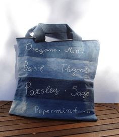 Repurposed denim tote bag shopper - like the striping with different denim idea  (Would never spend all the time doing embroidery.)