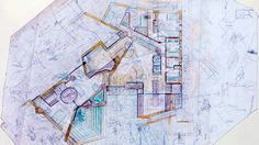 carlo scarpa, villa II palazzetto, Monselice Padua - love the plan with sketches all around