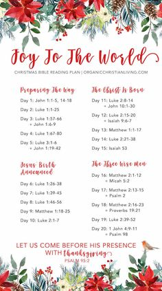 Christmas Bible Reading Plan | Christmas Bible Study | Christmas Bible Verses | Bible Reading Plan For Women | Joy To The World