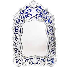 French Venetian Style Mirror with Blue Glass Ground, circa 1890 Ornate Mirror, Vintage Mirrors, Wood Mirror, Venetian Mirrors, Vintage Walls, Vintage Wood, Wall Mirrors, Mirror Mirror, Wall Sconces