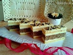 Francúzske orechové rezy trošku inak (fotorecept) Czech Recipes, Ethnic Recipes, Poppy Cake, Vanilla Cake, Nutella, Tiramisu, Waffles, Cake Recipes, Recipies