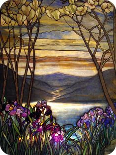 Magnolias and Irises.Louis Comfort Tiffany.