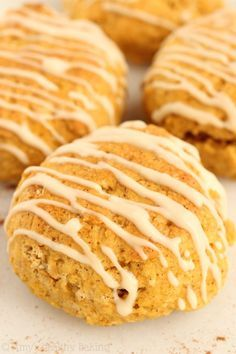 Maple Pumpkin Scones -- the softest you'll ever eat! They taste like pumpkin pie for breakfast! says it is delicious with gf flour Gluten Free Baking, Healthy Baking, Gluten Free Recipes, Baking Recipes, Dessert Recipes, Scone Recipes, Baking Tips, Healthy Foods, Cake Pops