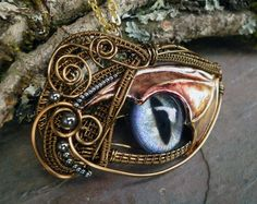 Gothic Steampunk Dragon Wing Eye Pendant